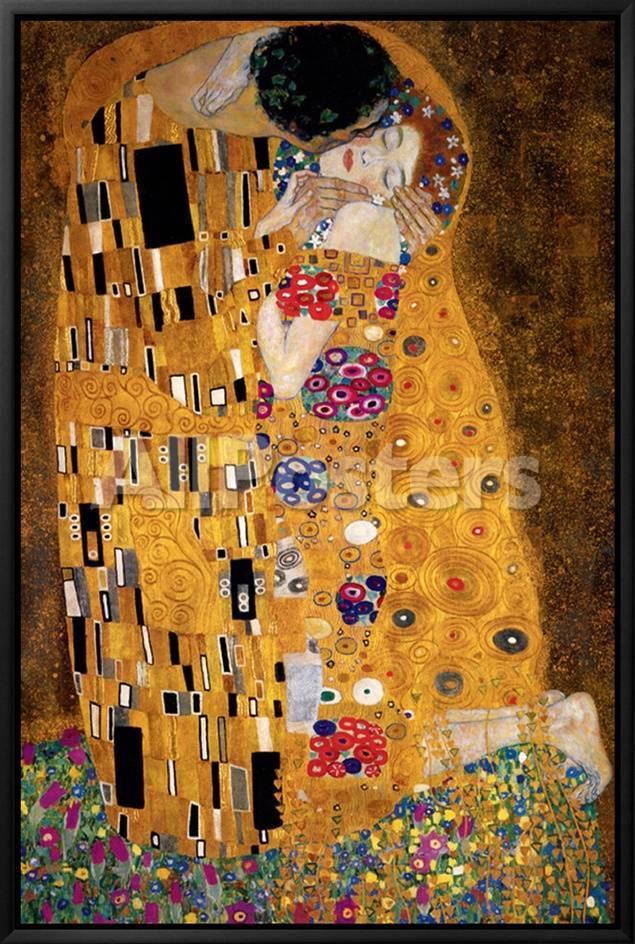 El beso, ca.1907 (detalle) Lienzo enmarcado por Gustav Klimt en ...