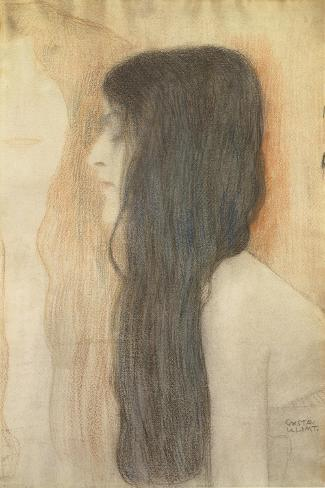 Girl with Long Hair in Profile Impressão giclée