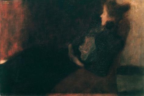 Lady at the Fireplace Lámina giclée