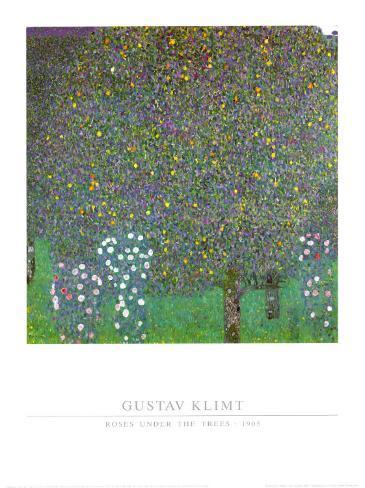Rose Bushes Under the Trees Art Print