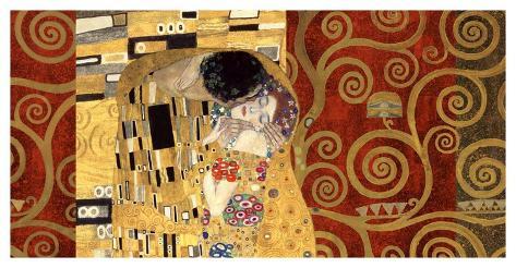 The Kiss (gold montage) Art Print