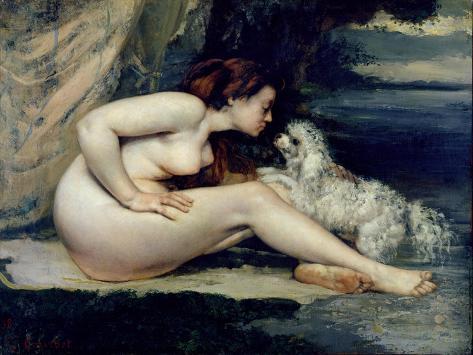 Female Nude with a Dog Lámina giclée