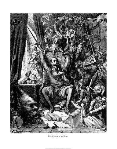 Don Quijote en su biblioteca Lámina