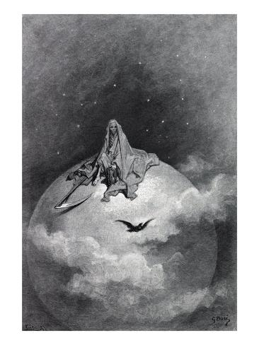 Gustave Dore Illustration of Edgar Allan Poe's, The Raven, 1883 Photo
