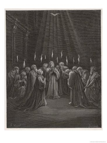 The Holy Spirit Descends on the Apostles and Their Associates with the Gift of Tongues Lámina giclée
