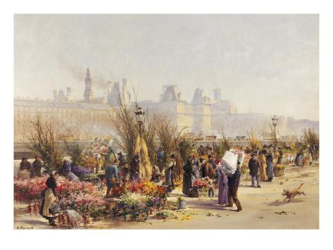 Flowers Sellers on the Banks of the Seine Giclee Print