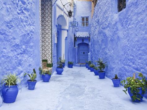 Blue Painted Alley Lined With Flower Pots Leading to Doorway, Chefchaouen, Morocco, North Africa Photographic Print