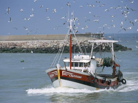 Fishing Boat Returning from Fishing, Deauville, Normandy, France Photographic Print