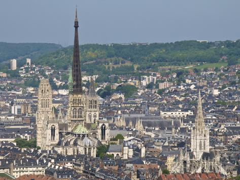 skyline notre dame cathedral and town seen from st catherine mountain rouen normandy france. Black Bedroom Furniture Sets. Home Design Ideas