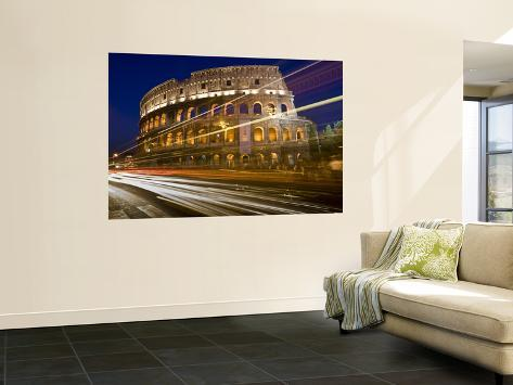 Traffic Trails and Collosseum (Colosseo) at Night from Via Dei Fori Imperiali Giant Art Print
