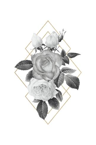 Floral Luxe Geo - Noir Giclee Print