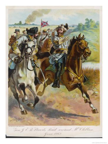 Confederate General J.E.B. Stuart Leads His Spectacular Raid Around the Union Forces Giclee Print