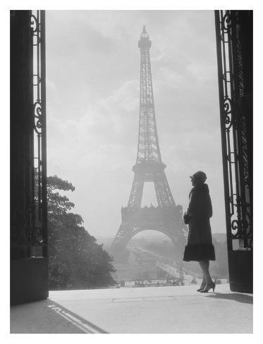 Woman looking toward Eiffel Tower Art Print