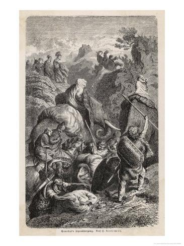 Second Punic War: Hannibal Crosses the Alps with His Elephants Giclee Print