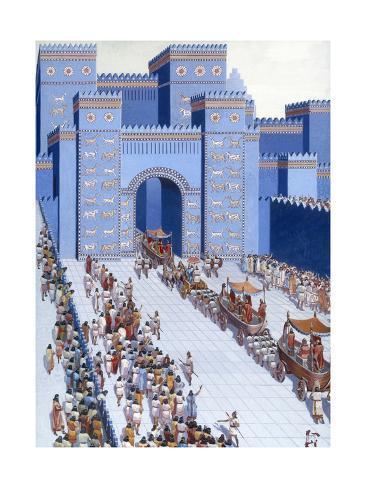 men parade statues of gods into babylon through ishtar gate giclee