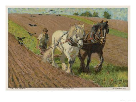 Ploughing with a Pair of Horses Giclee Print