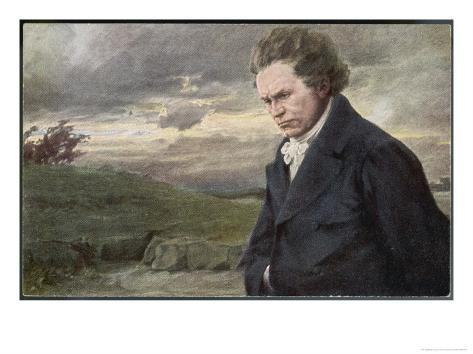 Ludwig Van Beethoven Beethoven out for a Walk on a Windy Day Giclee Print