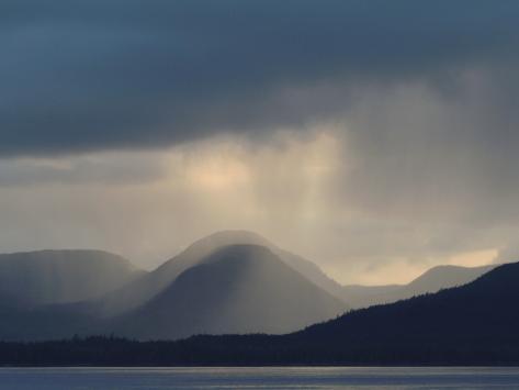Alaska, Ketchikan, a Rain Squall Engulfs Gravina Island Stretched Canvas Print