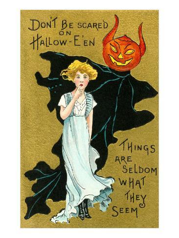 Halloween, Girl and Jack O'Lantern Goblin Art Print