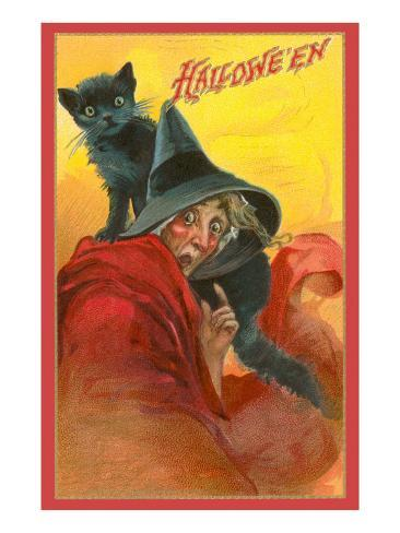 Halloween, Startled Witch and Cat Art Print