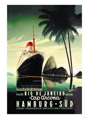 Hamburg to Rio de Janeiro on the Cap Arcona Steamship アートプリント