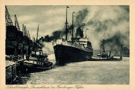 Hamburger Hafen, Hapag, Schnelldampfer Deutschland Giclee Print