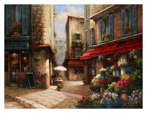 Flower Market Lane Art Print