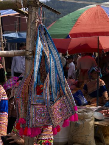 Hand Bags for Sale at a Market, Bac Ha Sunday Market, Lao Cai Province, Vietnam Stretched Canvas Print