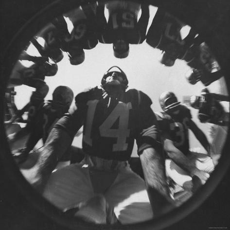 Eddie Lebaron of the Washington Redskins Huddling with His Teammates During a Game Premium Photographic Print