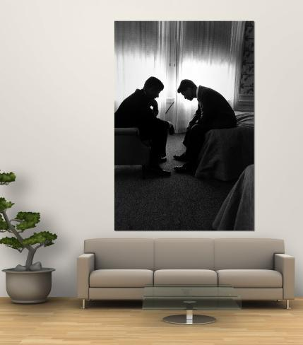 Jack Kennedy Conferring with His Brother and Campaign Organizer Bobby Kennedy in Hotel Suite Wall Mural