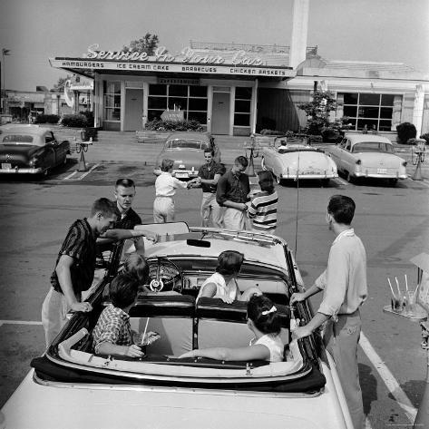 Teenagers Hanging Out at the Local Drive In Photographic Print