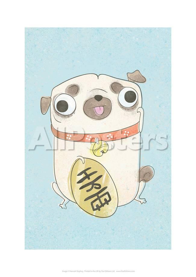 Pug Holding Sign Hannah Stephey Cartoon Dog Print Print