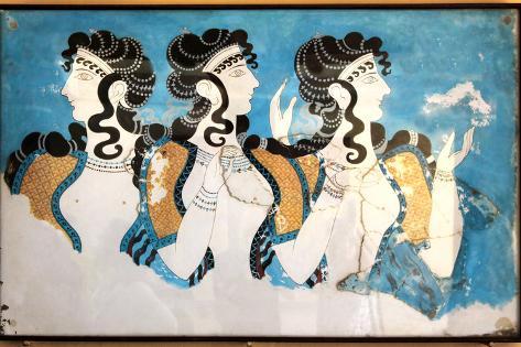 Minoan Ladies Mural Painting Fresco Art Print