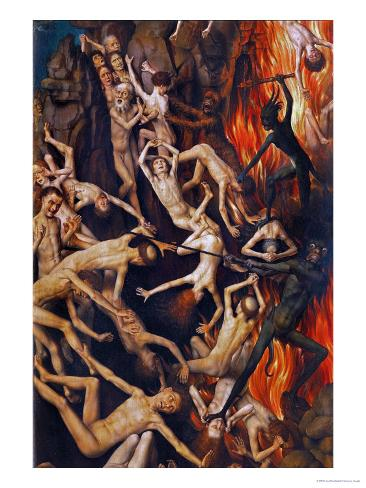 Triptych with the Last Judgement, Right Wing, Detail: Casting the Damned into Hell, 1467-71 Giclee Print