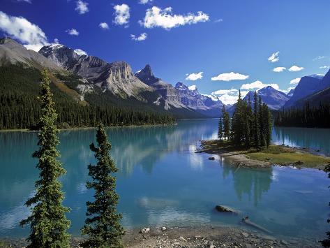 Maligne Lake, Jasper Nationalpark, Canada Impressão fotográfica