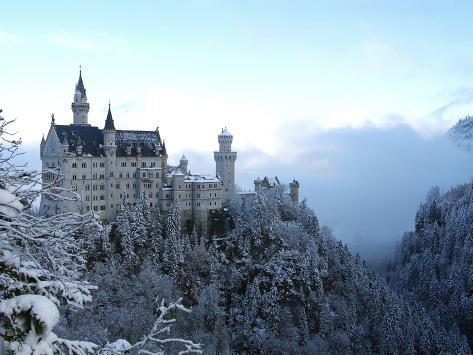 Neuschwanstein Castle in Winter, Schwangau, Allgau, Bavaria, Germany, Europe Impressão fotográfica