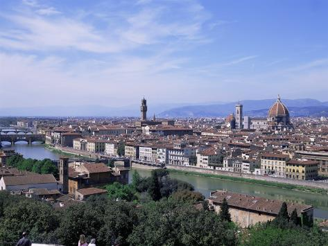 View of City from Piazzale Michelangelo, Florence, Tuscany, Italy Impressão fotográfica