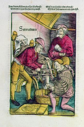 Leg Amputation, from the 'Field-Book of Wound Surgery', 1530 Lámina giclée