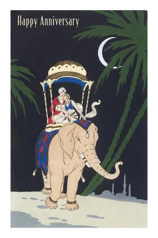 Happy Anniversary, Couple Riding Elephant Masterprint