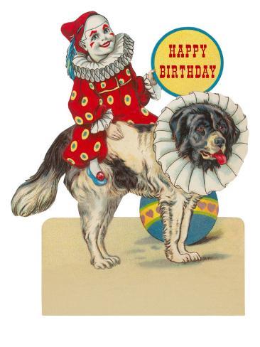 Happy Birthday, Clown on St. Bernard Art Print
