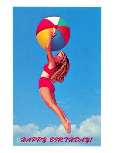 Happy Birthday, Girl Leaping with Beach Ball Art Print