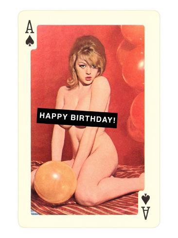 Happy Birthday, Naked Woman with Balloon on Playing Card Art Print