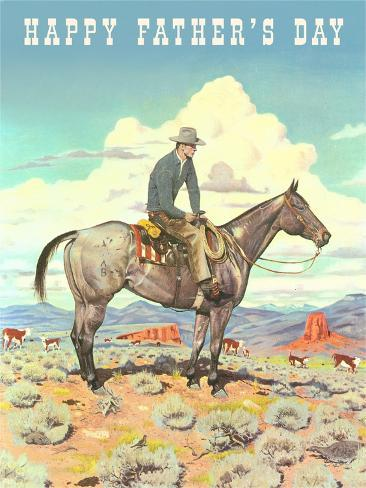 Happy Father's Day, Man on Horse Stampa artistica