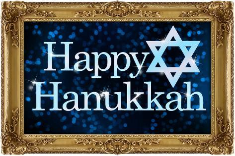 Happy Hanukkah Faux Framed Holiday Poster Póster
