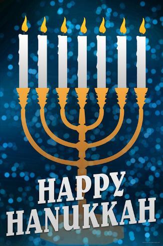 Happy Hanukkah Menorah Holiday Poster Póster