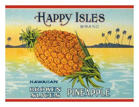 Happy Isles Brand, Pineapple Can Label, c.1930s Giclee Print