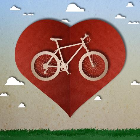 Bike Love Heart Papper Cut Stampa artistica
