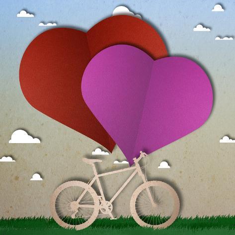 Bike Love Heart Papper Cut Stampa giclée premium