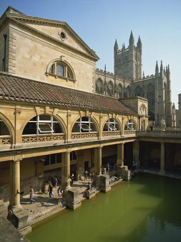Roman Baths with the Abbey Behind, Bath, UNESCO World Heritage Site ...