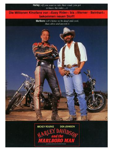 Harley Davidson and the Marlboro Man, German Movie Poster, 1991 Stretched Canvas Print